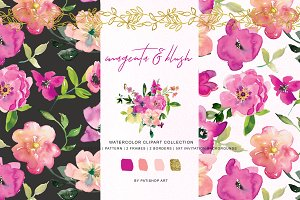 Watercolor Magenta and Blush Floral