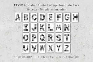 12x12 Alphabet Photo Template Pack