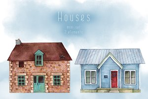 Watercolor Houses Clipart #4