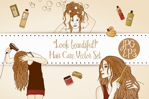 Hair Care Vector Set