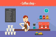 Coffee shop. Two flat illustrations