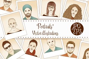 Portraits - Hand drawn vector files