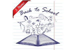 Set of 5 School Doodle Design