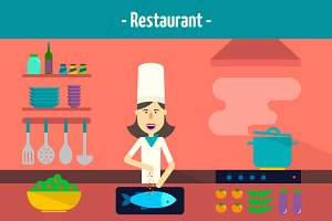 Chef character. Flat illustrations