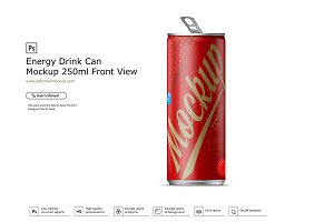 Energy Drink Can Mockup 250ml Front
