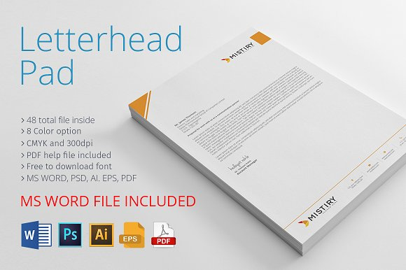 letterhead pad with ms word stationery templates creative market