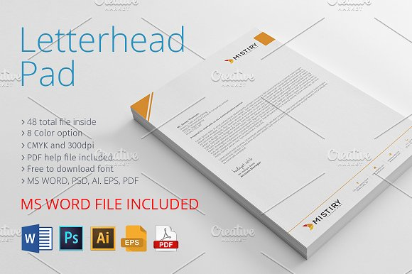 Letterhead pad with ms word stationery templates creative market spiritdancerdesigns Gallery