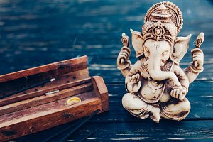 Hindu god Ganesh on black background