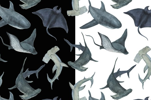 Sharks -watercolor painting patterns