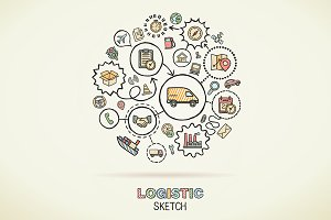 Logistic hand draw sketch icons