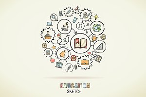 Education hand draw sketch icons