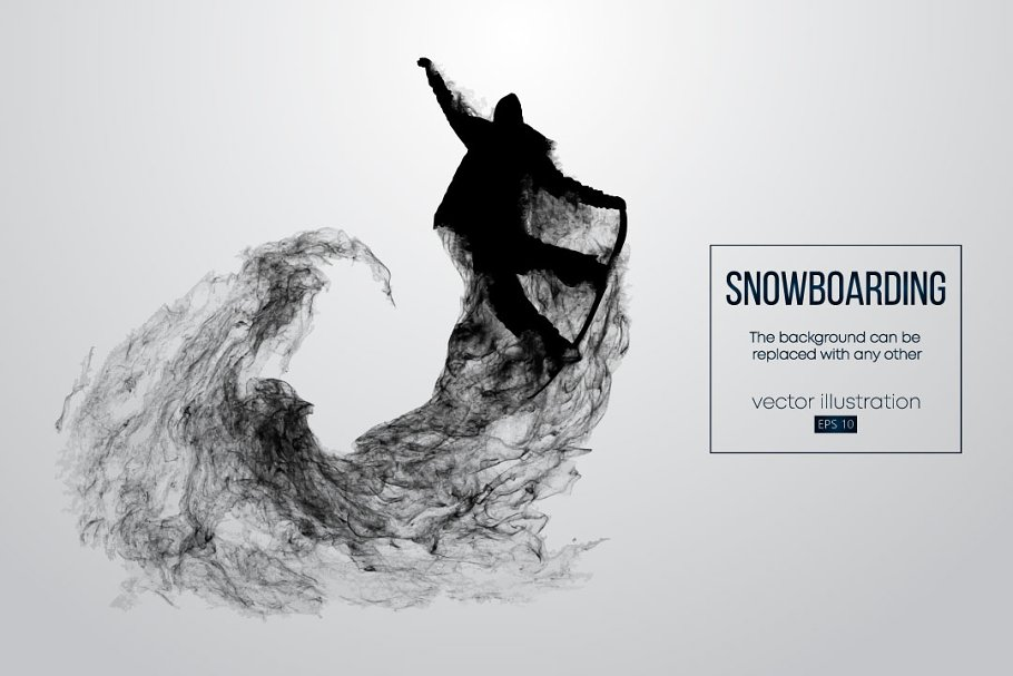 Silhouette of a snowboarder. Vector