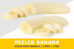 Isolated peeled and cut banana
