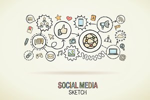Social media hand draw concept icons
