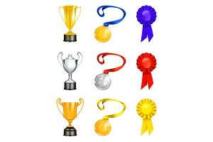 Trophies vector icons