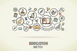 Education hand draw integrated icons