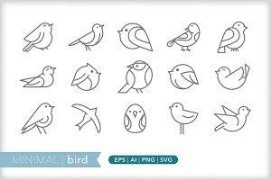 Minimal bird icons