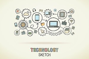 Technology hand draw integrate icons