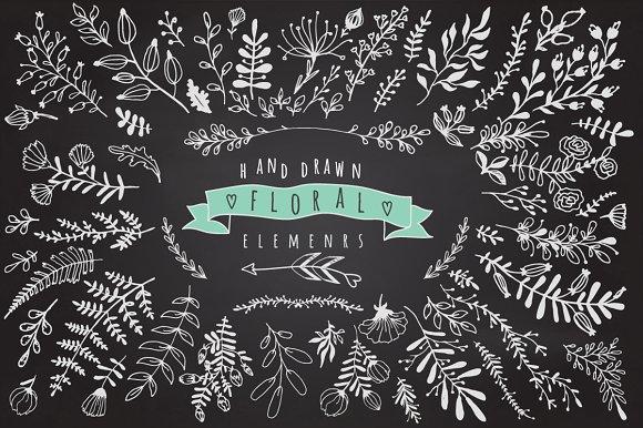 floral elements on chalkboard graphics creative market