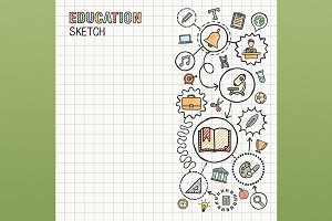 Education hand draw icons on paper