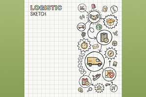 Logistic hand draw icons on paper