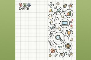 SEO hand draw icons on paper