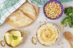 Homemade hummus with olive oil