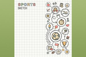 Sport hand draw icons on paper