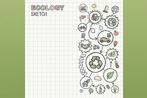 Ecology hand draw icons on paper