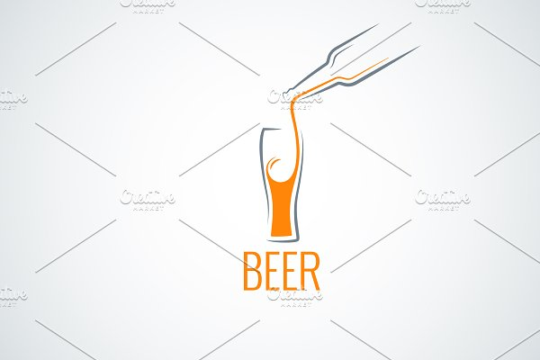 Beer glass bottle menu background