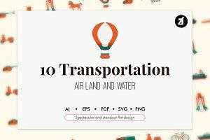 10 Transportation flat icons