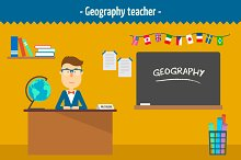 Geography teacher. Two illustrations