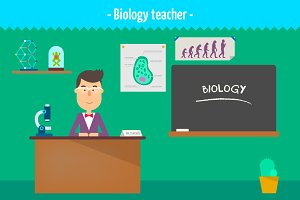 Biology teacher. Two illustrations
