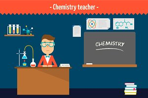 Chemistry teacher. Two illustrations