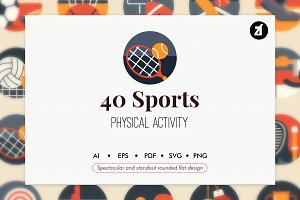 40 Sports elements rounded flat
