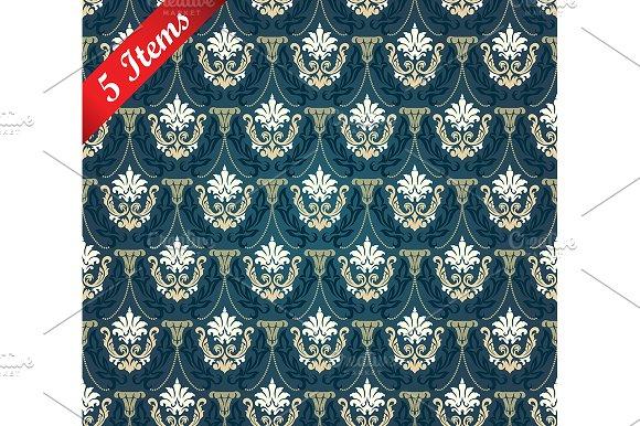 5 Seamless Damask Patterns