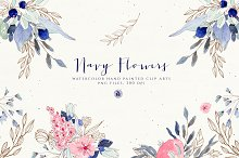 Navy Flowers by  in Illustrations