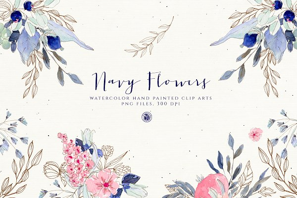 Illustrations: Webvilla Design - Navy Flowers