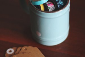 Mug with washi tape,scissor and tags