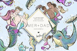 Father's Day Mermaid Clipart