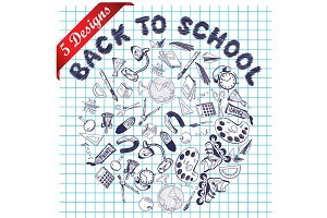 Set of 5 School Doodle Designs