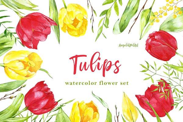 watercolor set spring  tulips