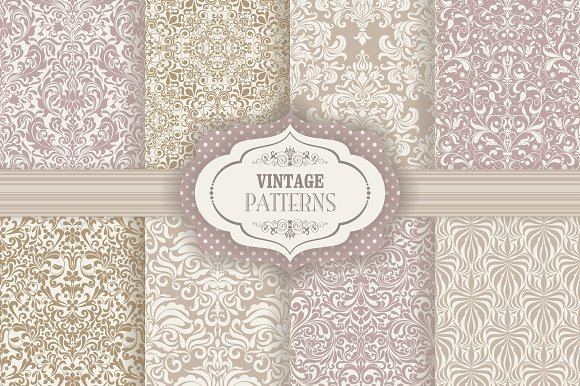 Set of 8 seamless pattern in Baroque