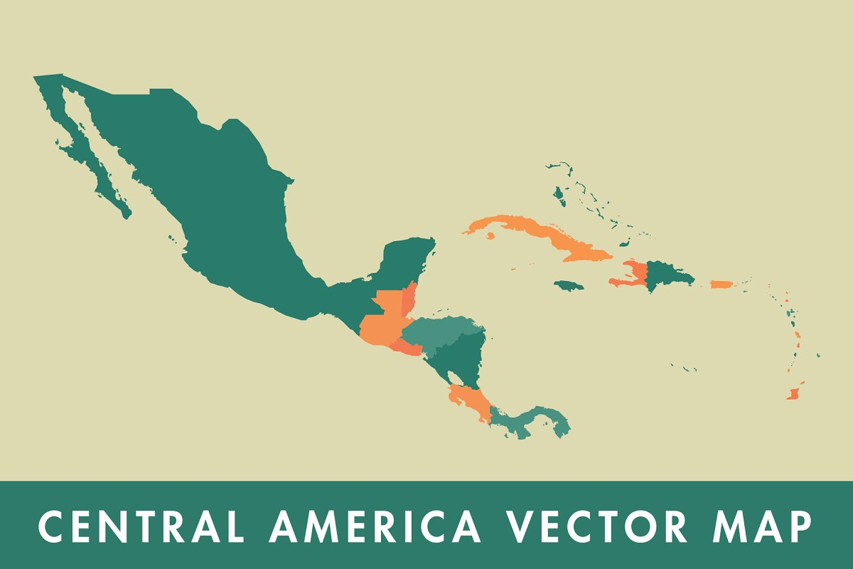 Central America & Caribbean Map ~ Illustrations ~ Creative Market
