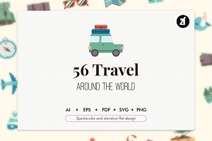 56 Travel elements in flat design