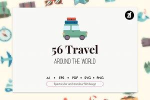 56 Travel elements in flat design