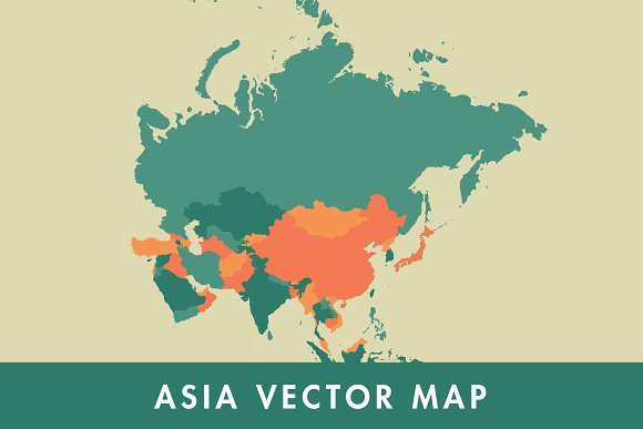 Asia On A Map Of The World.Asia Vector Map