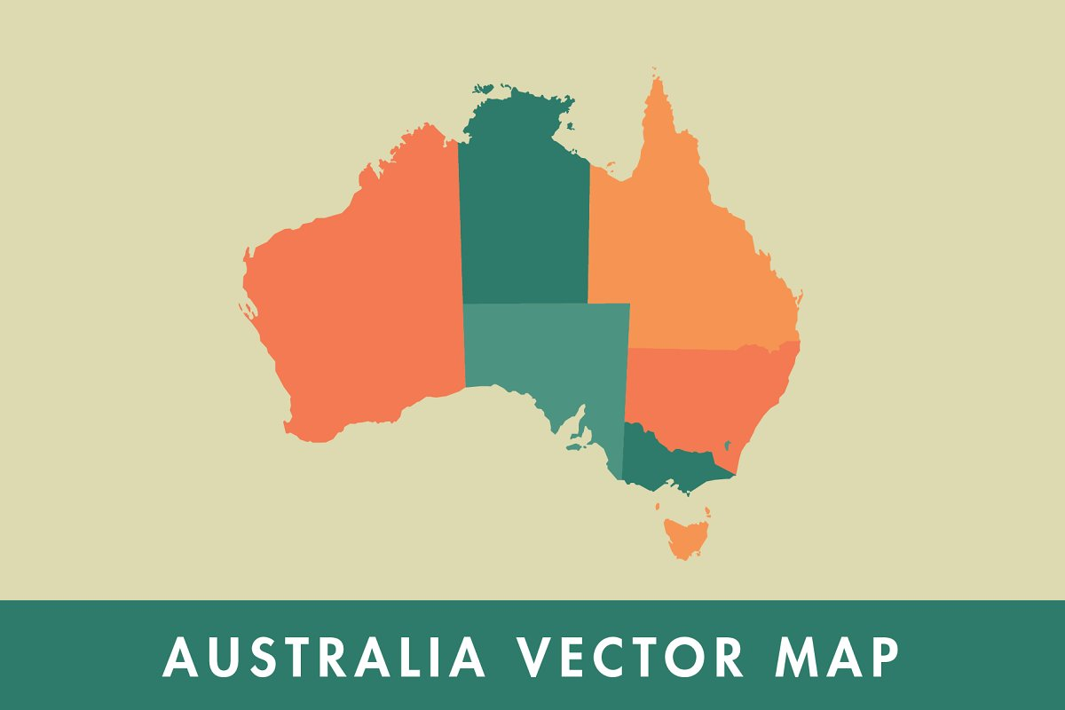 Australia Map Vector.Australia Vector Map Illustrations Creative Market