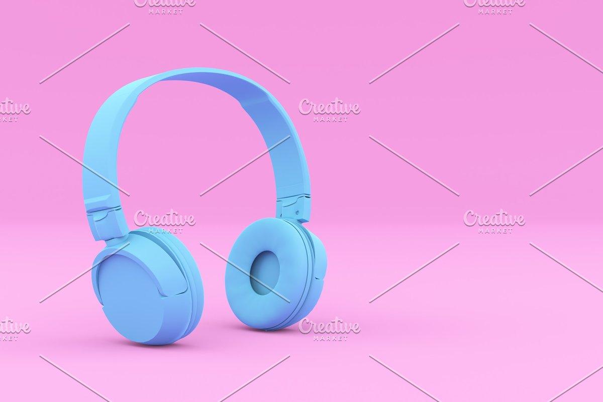 Painted Blue Headphones on Pink