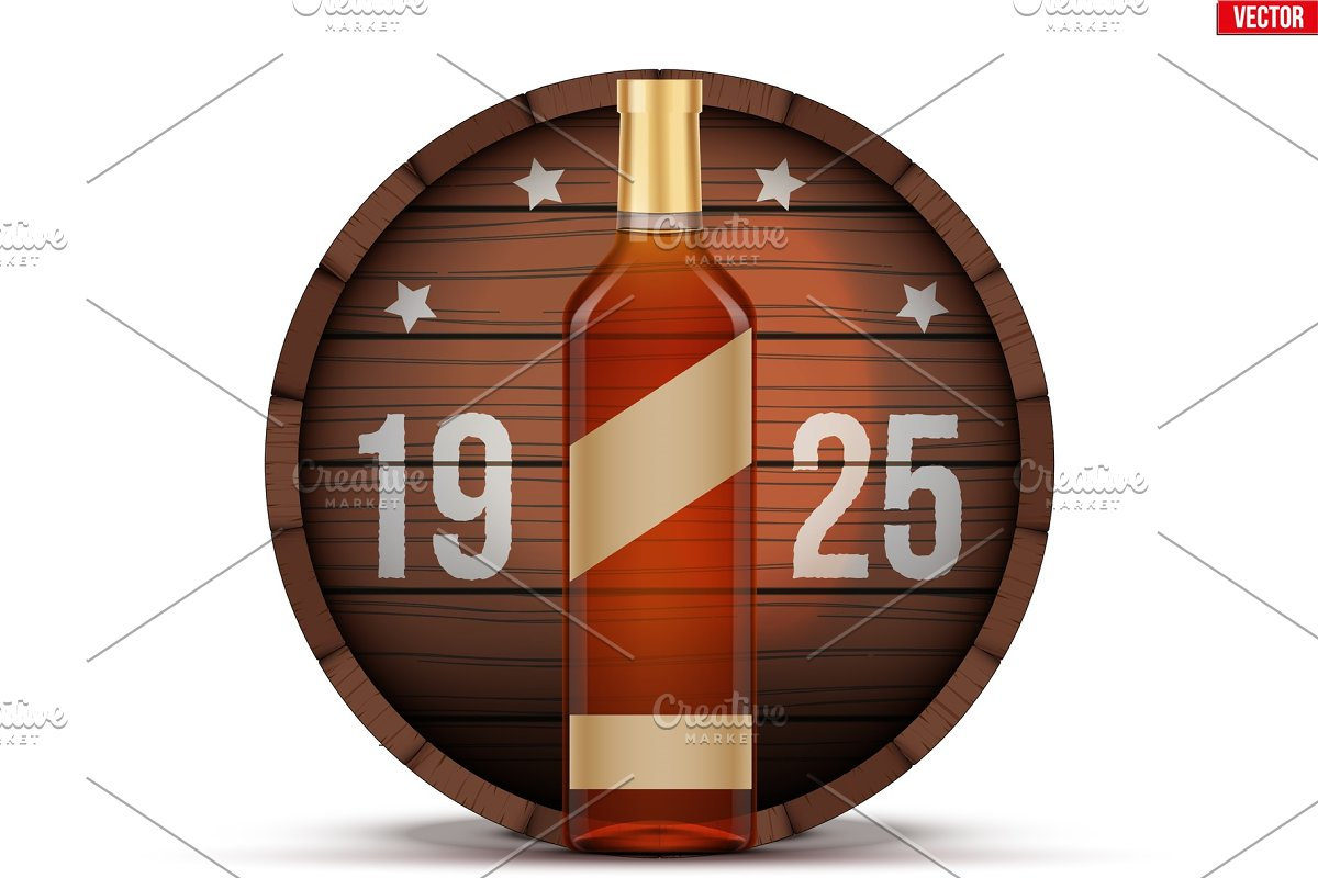 Whiskey bottle and wooden barrel